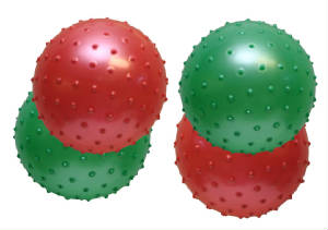 "6"" knobby balls - red and green"