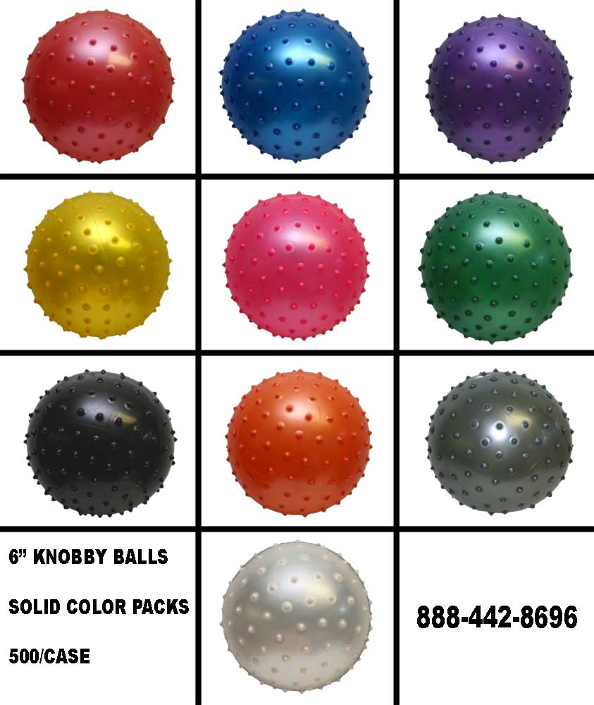 "6"" Knobby Ball Solid Color Packs"